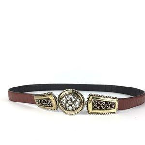Vintage western brown leather belt size L